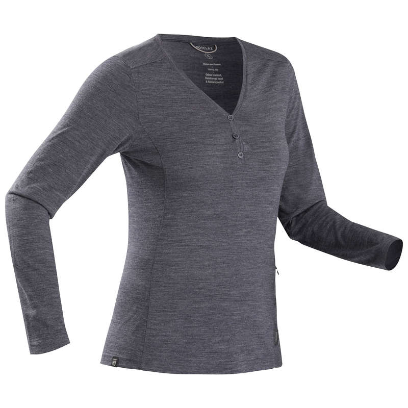 WOMEN APPAREL OUTFIT TRAVEL TREK Trekking - W LS TS MERINO TRAVEL500 -Blue FORCLAZ - Trekking