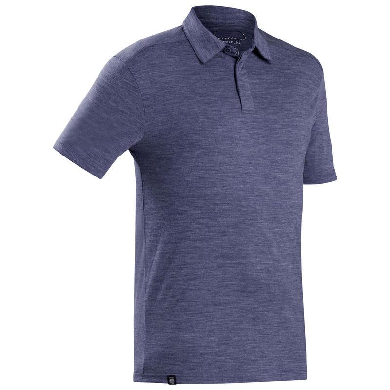 Men's Merino wool trekking travel polo shirt - TRAVEL 500 - blue