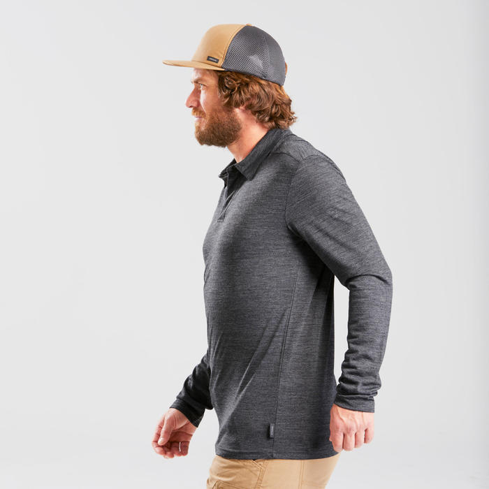 Polo laine mérinos de trek voyage - TRAVEL 500 manches longues noir homme