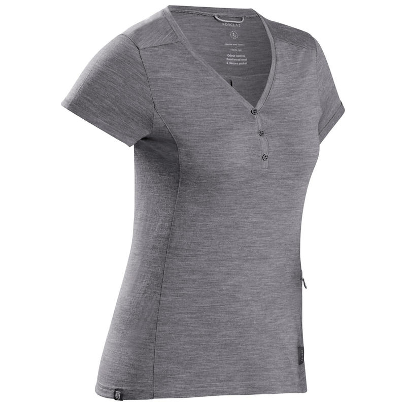 Camiseta lana merina de trekking viaje - TRAVEL 500 mujer gris