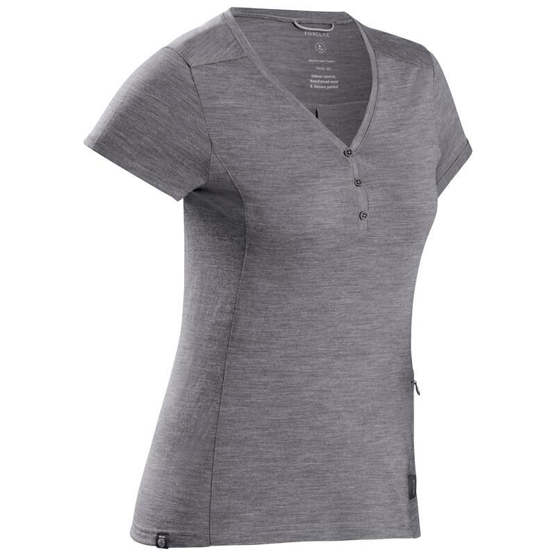 Women's Trekking Merino Wool T-Shirt - TRAVEL 500 Grey