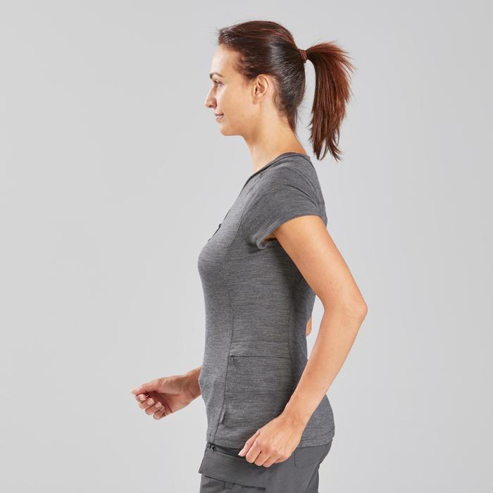 T-shirt laine mérinos de trek voyage - TRAVEL 500 gris femme