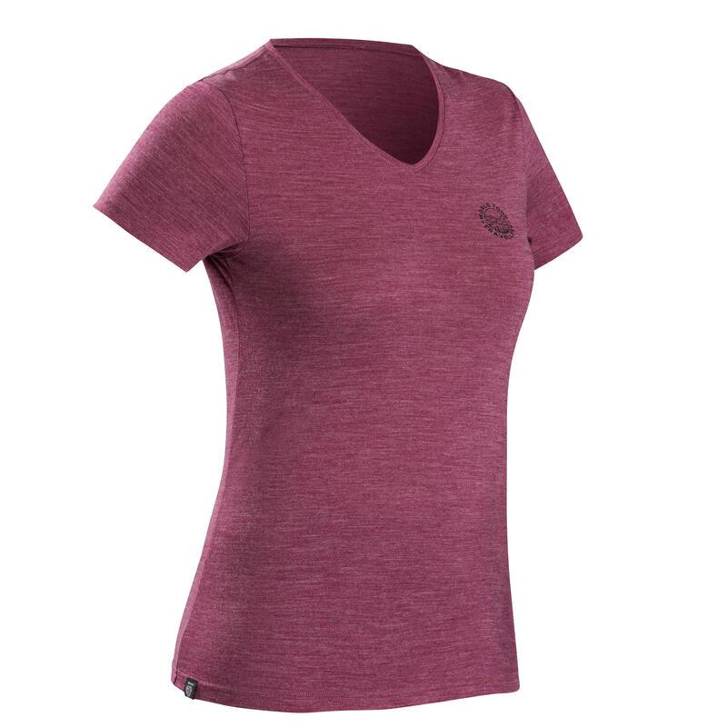 T-shirt de trek voyage - manches courtes - laine mérinos TRAVEL 100 violet Femme