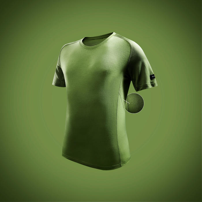 Merino shirt met korte mouwen voor bergtrekking heren Trek 500 groen