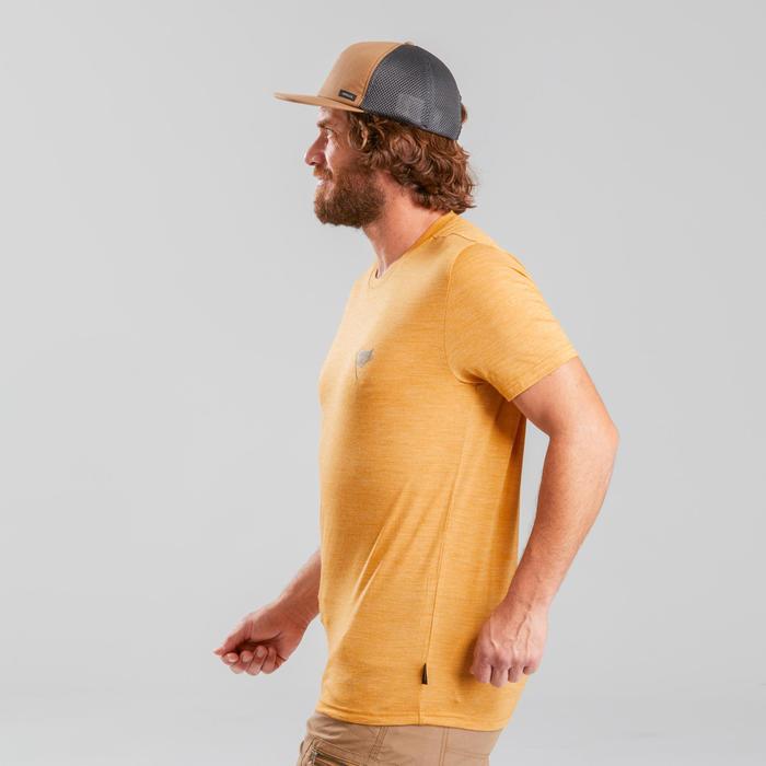 T-shirt laine mérinos de trek voyage - TRAVEL 100 jaune homme