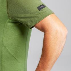 T-shirt mérinos manches courtes de trek montagne - TREK 500 vert homme