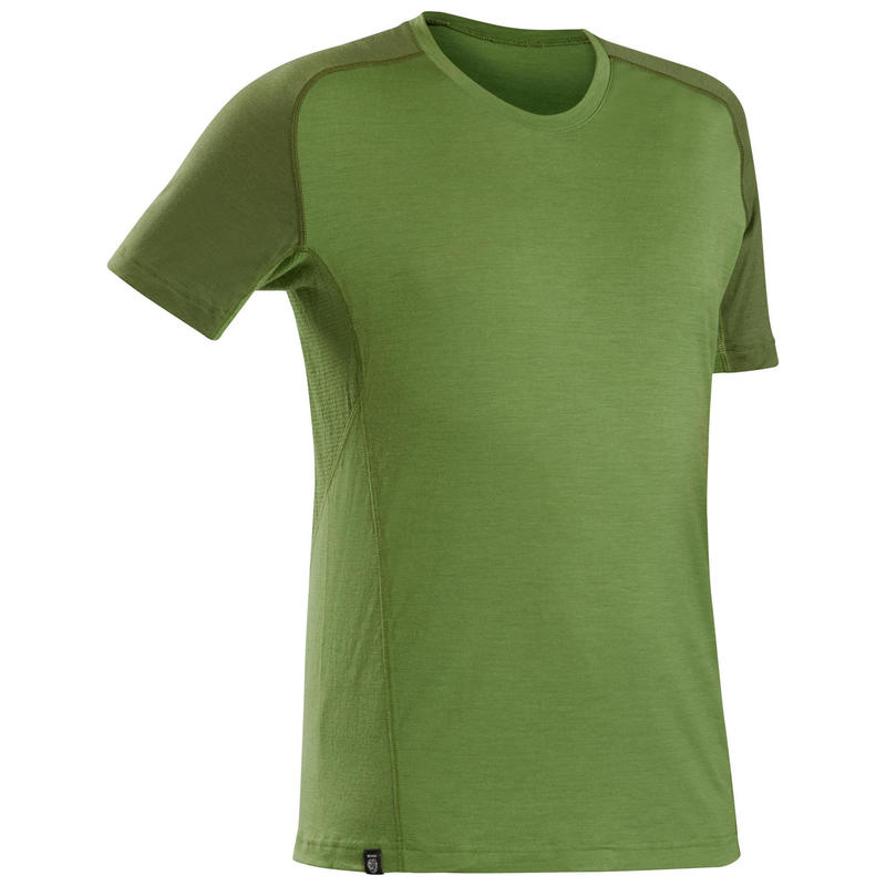 Pánské turistické merino tričko s krátkým rukávem TREK 500 zelené