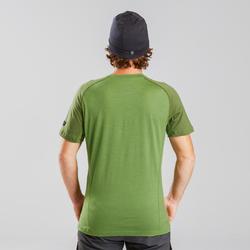 Herenshirt van merinowol met korte mouwen voor bergtrekking Trek 500 groen