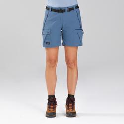 女款登山健行短褲TREK 500-藍色