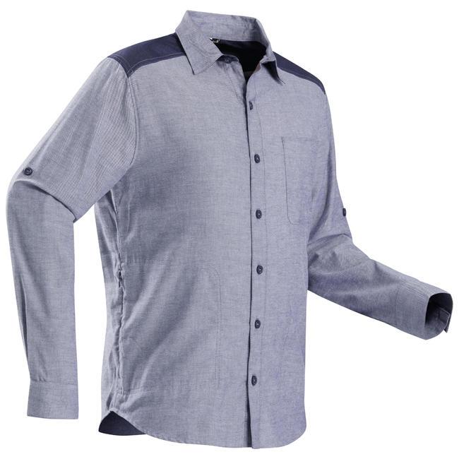 Men's Denim Trekking Travel Shirt - TRAVEL 100 WARM