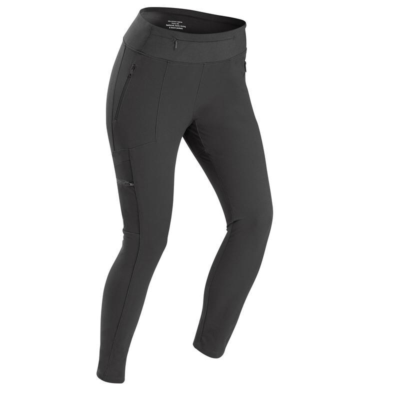 Women's Travel Trekking Reinforced & Multi-Pocket Leggings | TRAVEL 500 Black