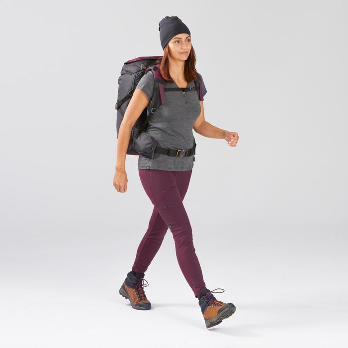 Legging de trek voyage renforcé & multipoches - TRAVEL 500 bordeaux femme