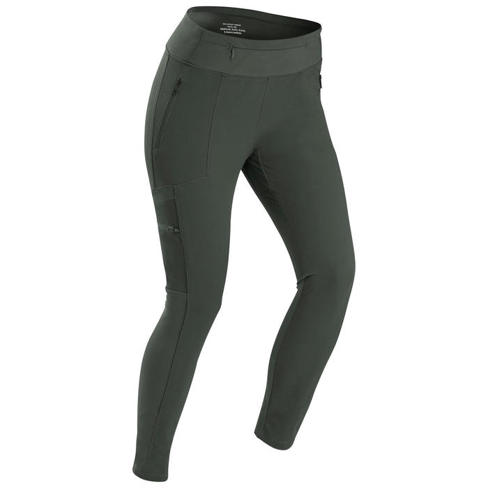 Women's Trek Reinforced & Multipocket Leggings Travel 500 - Khaki