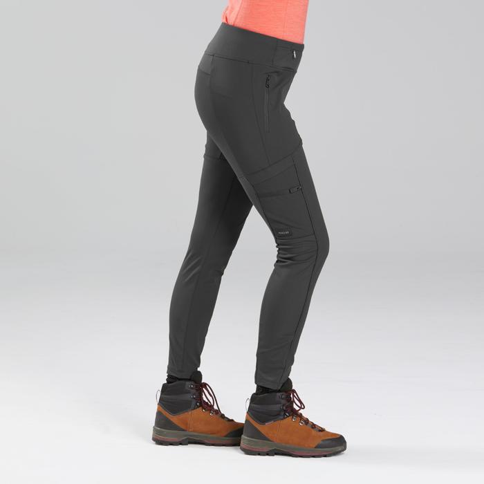 女款健行多口袋強化緊身褲Travel 500-黑色