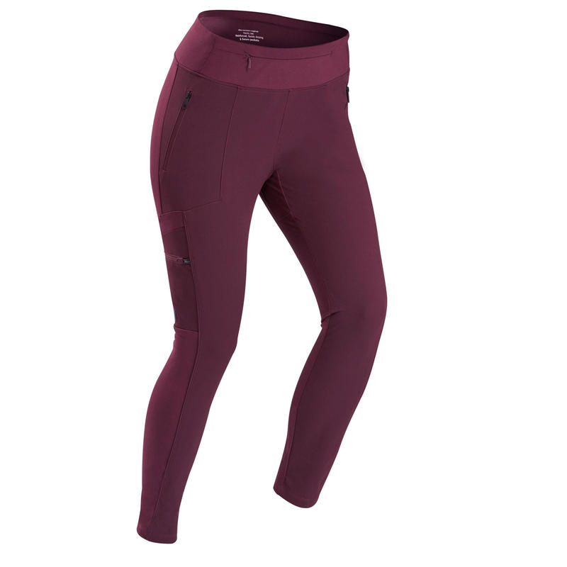 Legging voor backpacken dames Travel 500 verstevigd en met veel zakken bordeaux