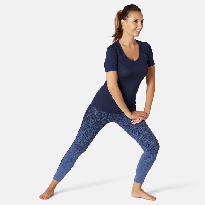 7/8-legging voor pilates en lichte gym 520 slim fit blauw met print