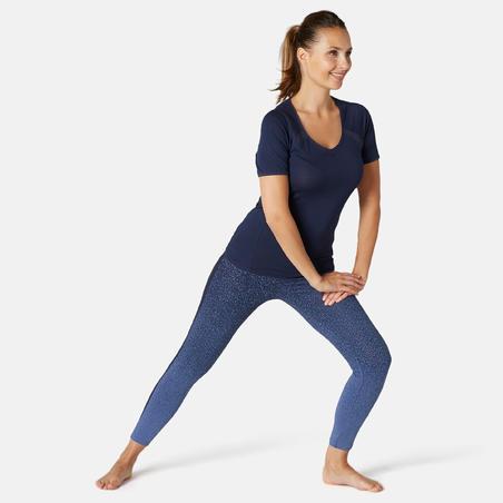 Women's Slim-Fit Pilates & Gentle Gym Sport Leggings 520 - Blue Print