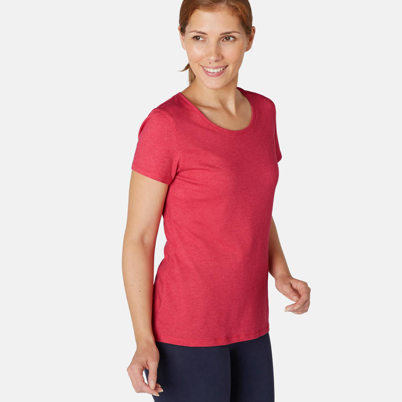 T-shirt fitness manches courtes slim coton extensible col rond femme rose