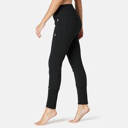 Pantalon jogging Fitness bas de jambe zippé Slim Noir