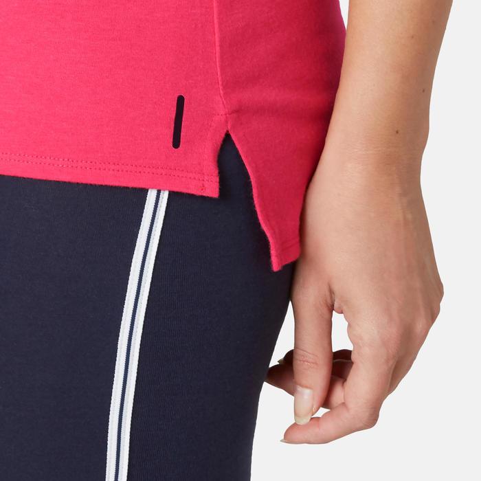 T-shirt voor pilates en lichte gym dames 510 roze/opdruk