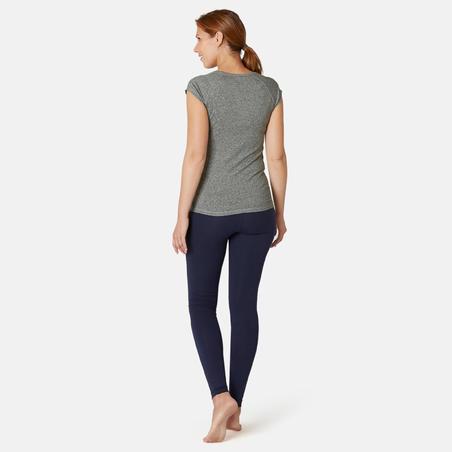 Жіноча футболка 500 для фітнесу, вузький крій - Сіра