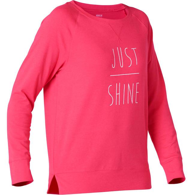 Women's Gym T-Shirt Stretch Regular Fit Long Sleeved 500 - Pink
