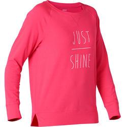 Shirt met lange mouwen pilates en lichte gym dames 500 regular fit roze/opdruk