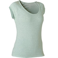 T-shirt Sport Pilates Gym Douce Femme 500 Slim Vert