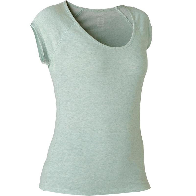 T-shirt Sport Pilates Gym Douce Femme 500 Slim Vert