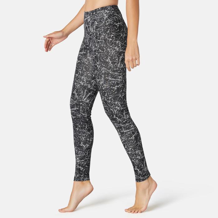 女款修身剪裁皮拉提斯與溫和健身長褲Fit+ 500 - 黑色印花