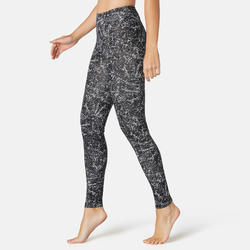 Women's Slim-Fit Pilates & Gentle Gym Sport Bottoms Fit+ 500 - Black Print