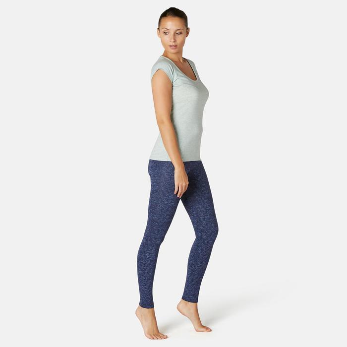 Pantalon de Sport Pilates Gym douce Femme Fit+500 Slim Bleu Printé