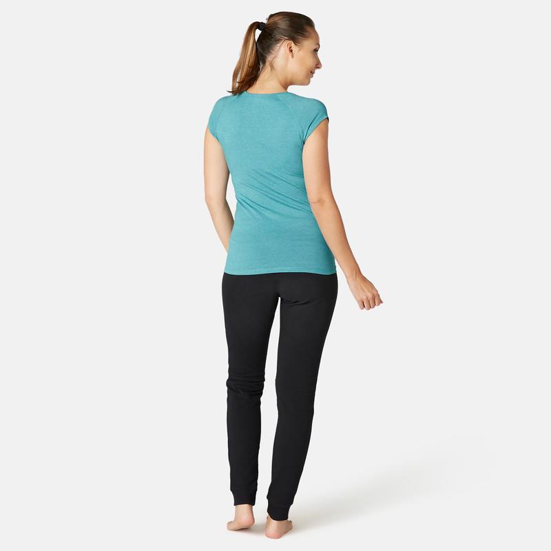 Polera Sport Pilates y Gimnasia suave mujer 500 slim Azul