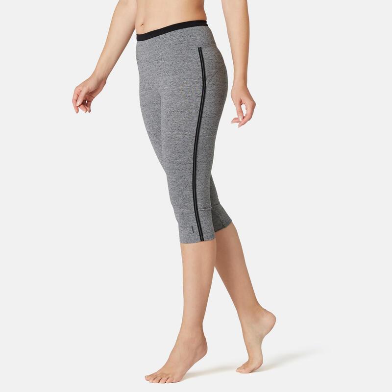 Stretch kuitbroek voor fitness katoen grijs