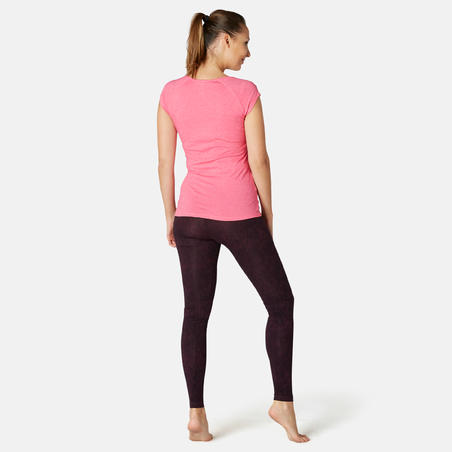 Playera Sport Pilates Gimnasia suave mujer 500 Slim rosa