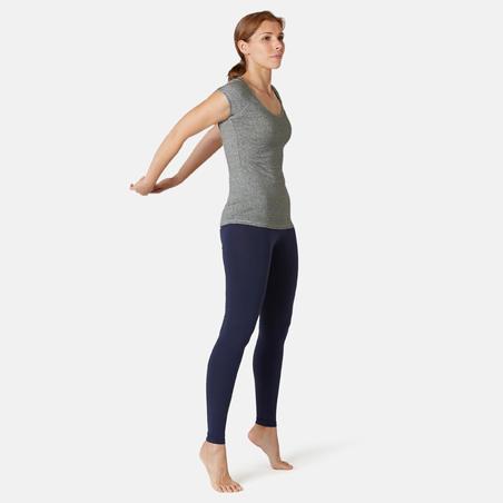 Playera Sport Pilates Gimnasia Suave Mujer 500 Slim Gris