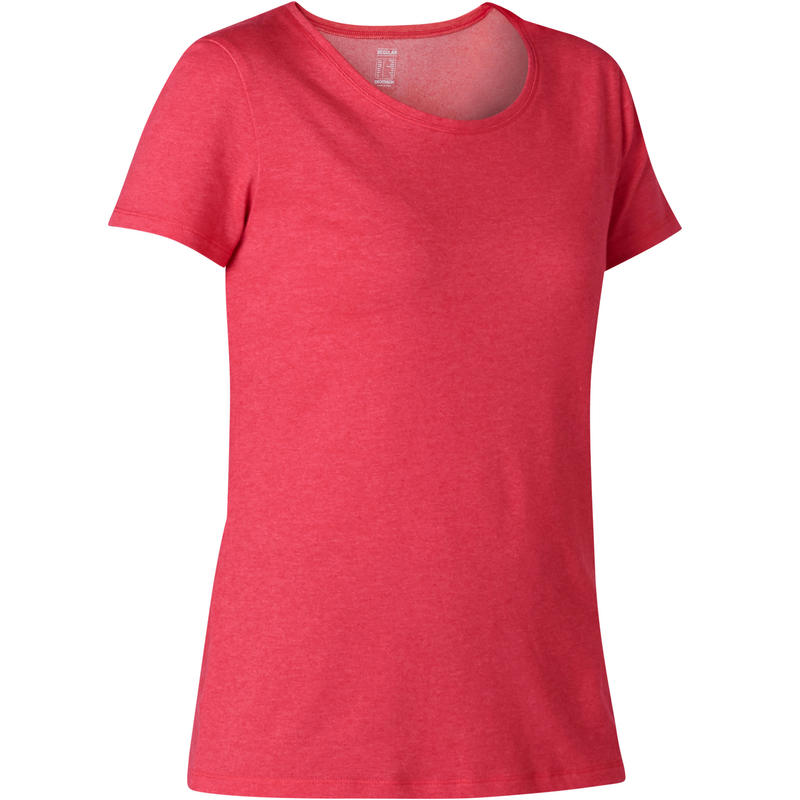 T-shirt Sport Pilates Gym douce Femme 500 Regular Rose Printé