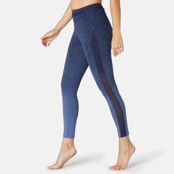 Legging 7/8 Sport Pilates Gym Douce Femme 520 Slim Bleu Printé