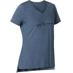T-shirt voor pilates en lichte gym dames 510 blauw/opdruk