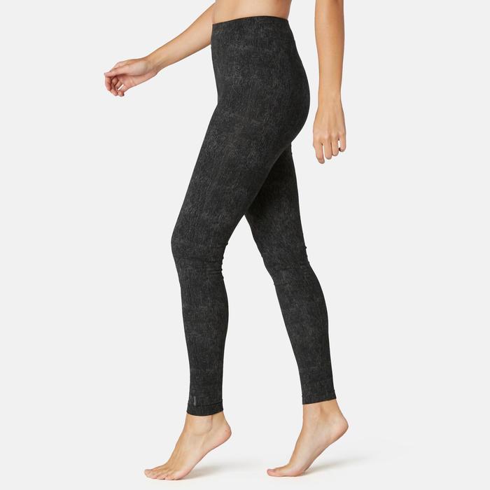 Sportbroek voor pilates en lichte gym dames Fit+500 slim fit zwart/print