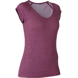 T-shirt Sport Pilates Gym douce Femme 500 Slim Violet