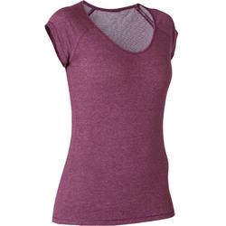 T-shirt voor pilates en lichte gym dames 500 slim fit paars