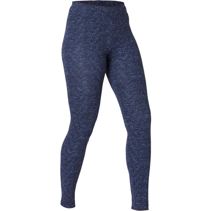 WOMAN T SHIRT LEGGING SHORT Fitness and Gym - Slim Gym Bottoms Fit+ 500 Blue NYAMBA - Gym Activewear