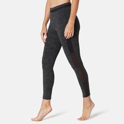 Legging 7/8 Sport Pilates Gym Douce Femme 520 Slim Noir Chiné