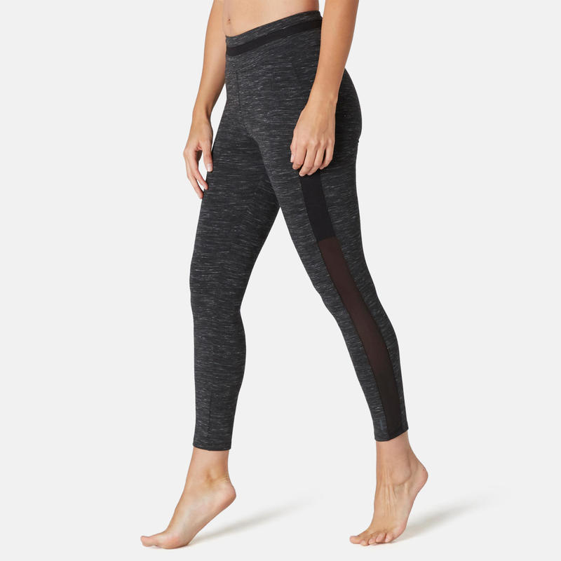 Legging 7/8 Sport Pilates Gym Douce Femme 520 Slim Noir Chiné