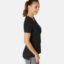 T-shirt voor pilates en lichte gym dames 510 zwart/opdruk