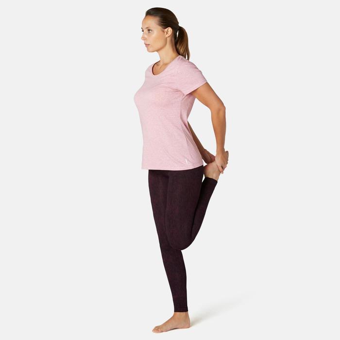 Sportbroek voor pilates en lichte gym dames Fit+500 slim fit paars/print