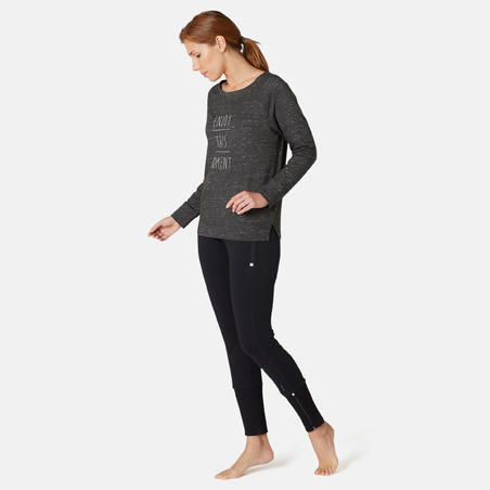 Women's Pilates & Gentle Gym Long-Sleeved Regular-Fit T-Shirt 500 - Grey Print