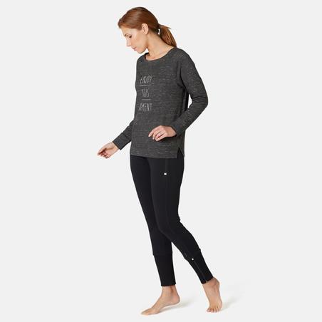 Women's Pilates & Gentle Gym Long-Sleeved Regular-Fit T-Shirt 500 - Grey Print
