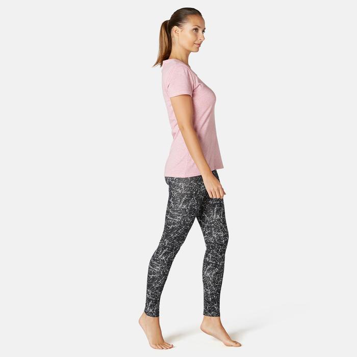 Pantalon de Sport Pilates Gym douce Femme Fit+500 Slim Noir Printé